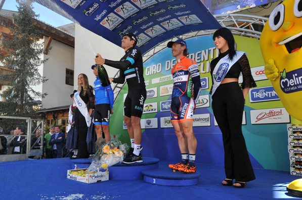 Giro del Trentino Melinda 2016 , 2° tappa Arco - Anras  PODIO da sx 1 posto Firsanov Sergay, vincitore di tappa Landa Meana, 3 posto Cunego Damiano