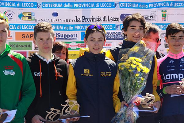 da sx Tosetto, Buttini e Gobbo, Podio Esordienti 2^ Anno (Foto Kia Castelli)
