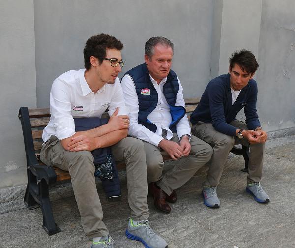 Da sx, Mattia Cattaneo, Orlando Maini e Diego Ulissi (Foto Pisoni)