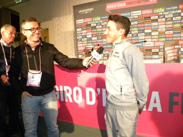 Domenico Pozzovivo intervista televisiva (Foto Nastasi)