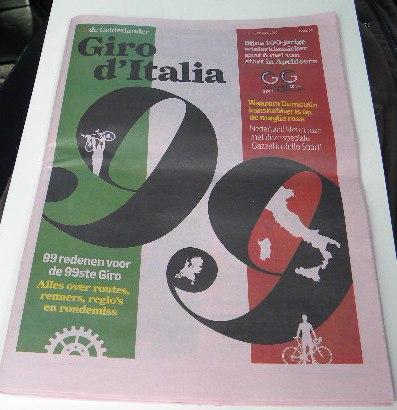 04.05.16 - Prima pagina giornale dedicata 99 Giro d'Italia (Nastasi)