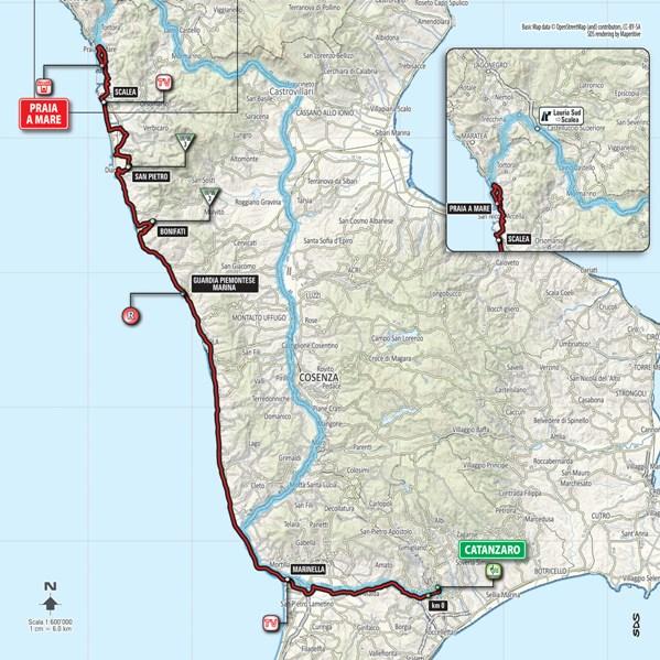 Planimetria generale 4^ tappa da Catanzaro a Praia a Mare