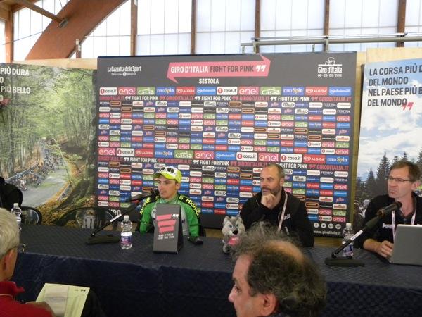 Ciccone in conferenza stampa a Sestola (Foto Nastasi)