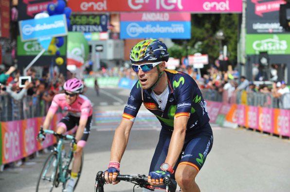 Valverde E Kruijswijk dopo l'arrivo ad Andalo (Foto Mosna Natascia G.)