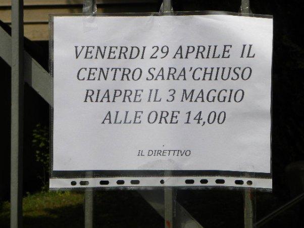 30.04.16 - Avviso chiusura Centro Sociale sabato 30.04.16 (Nastasi)