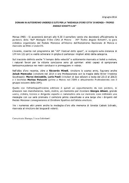 10.06.16 - PRESENTAZIONE - PED. MONZESE DOMANI IN AUTODROMO LA MED ORO CITTA MONZA