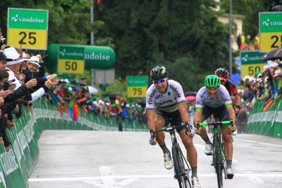 Sagan, Albasini, Dilier  l'ordine d'arrivo della 3^ tappa (Foto JC Faucher)