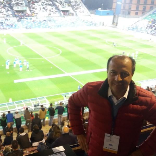 Sandro Brambilla nella tribuna stampa dello stadio di Reggio Emilia