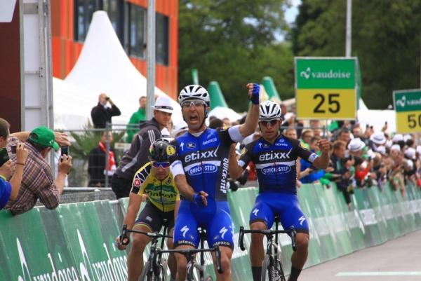 Richeze, Gaviria e Sagan nell'ordine a Champagne (Foto JC Faucher)