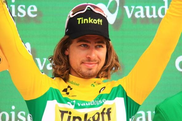 Richeze in maglia Oro di capoclassifica al Tour de Suisse (Foto Jean Claude Faucher)