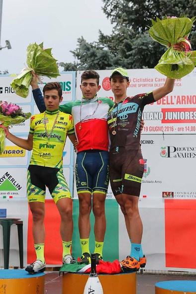 da sx Colnaghi, Bevilacqua e Huber, podio Tricolore Solbiate A. (Foto Pisoni)
