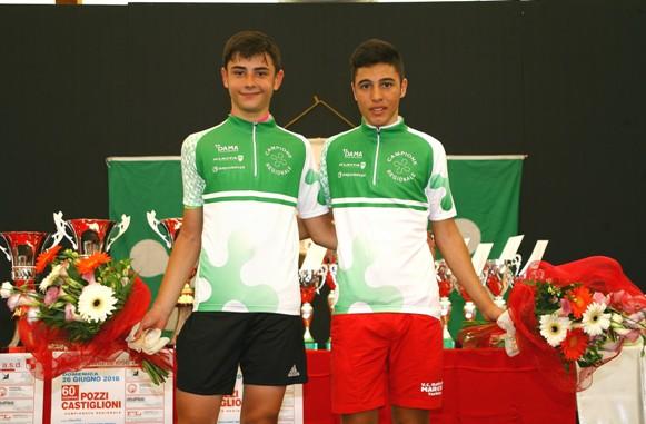 Andrea Montoli  es. 2^ anno a sinistra ed Emanuele Giuseppe Milonees. 1^ anno   a destra, i due neo campioni regionali lombardi categoria Esordienti (Foto Berry)