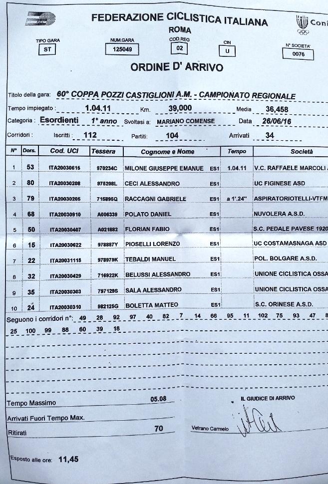 26.06.16 - ORDINE ARRIVO 1^ ANNO