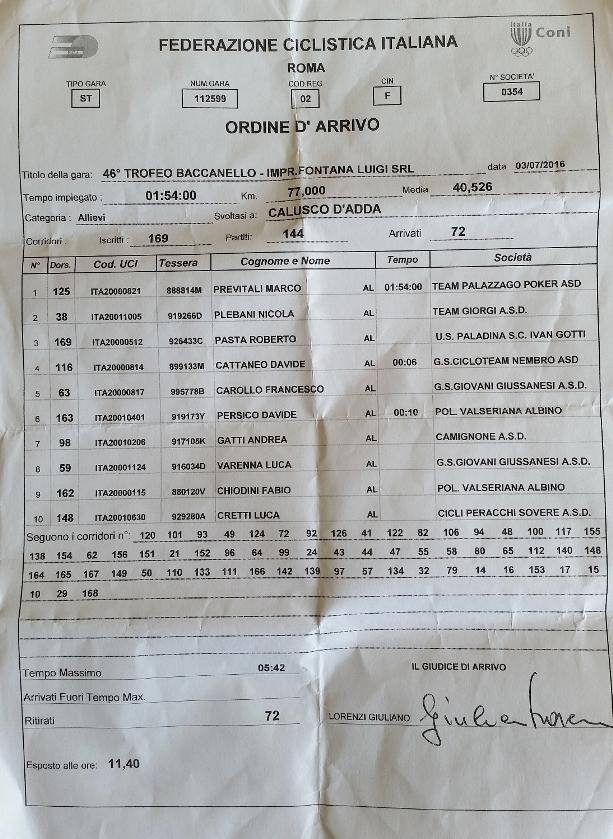 03.07.16 - ORDINE D'ARRIVO