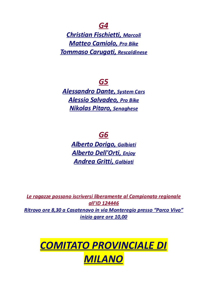 24.07.16 - Convocati camp reg MTB Casatenovo 24.07 - 2