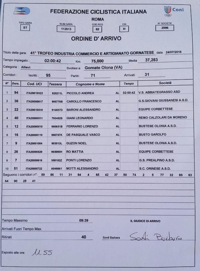 24.07.16 - ORDINE ARRIVO