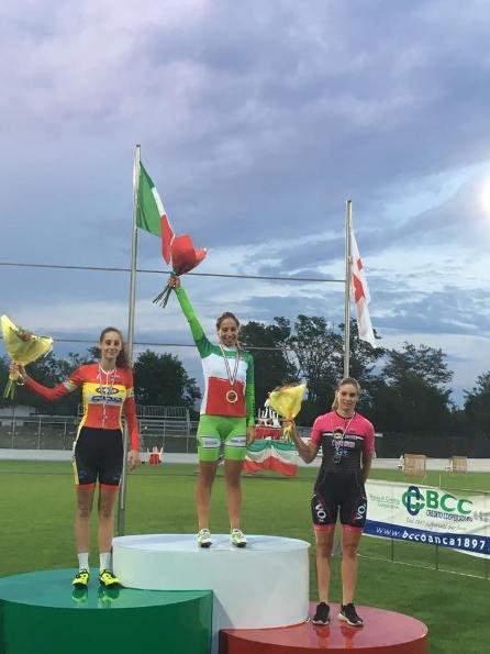 Podio Tricolore Inseguimento Donne Allieve, 1-Sofia Collinelli, 2-Vittoria Guazzini e, 3-Giada Natali