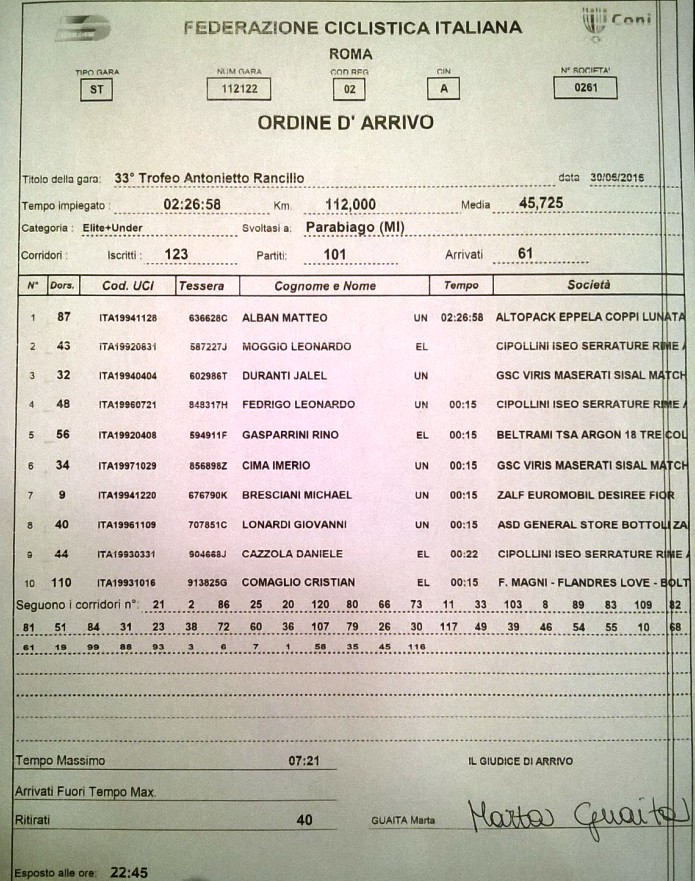 30.06.2016 - Ordine Arrivo_33 tr-ARancilio