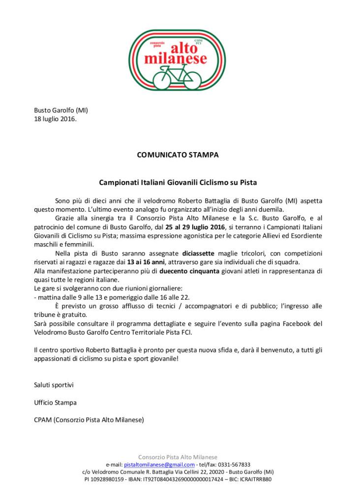 comunicato stampa n1 lug16