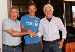 Davide Ballerini con Mario Androni e Gianni Savio