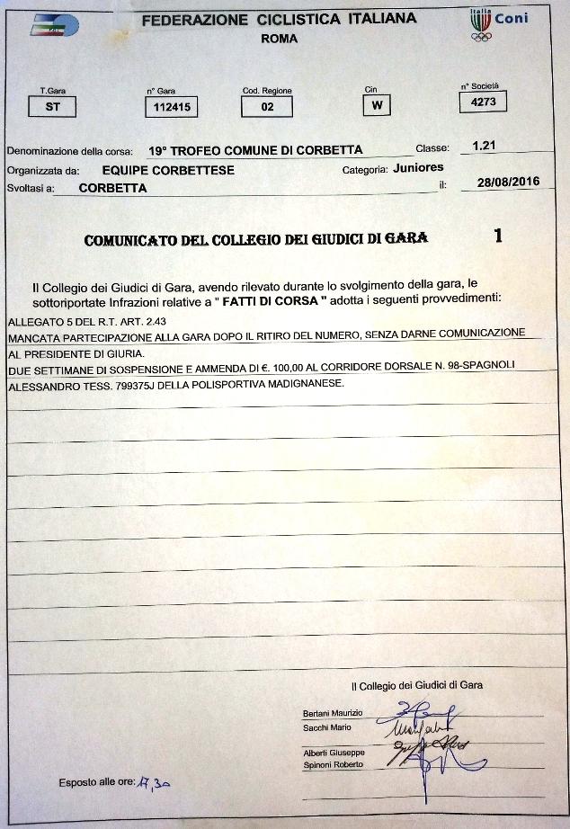 28.08.16 - Sanzioni Giuria