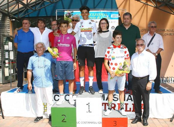 I vincitori finali, da sx Gambersio (maglia ciclamino), Parisini (Maglia Bianca) e Sulis (Maglia Pois) Foto Berry
