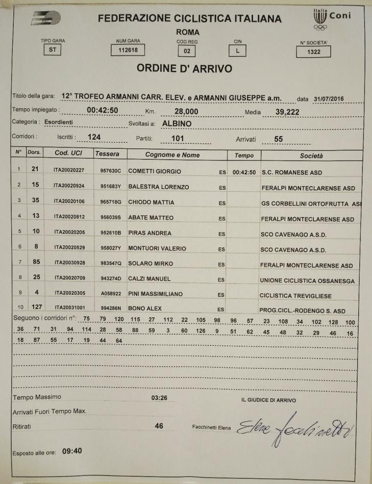 31.07.16 - ORDINE ARRIVO