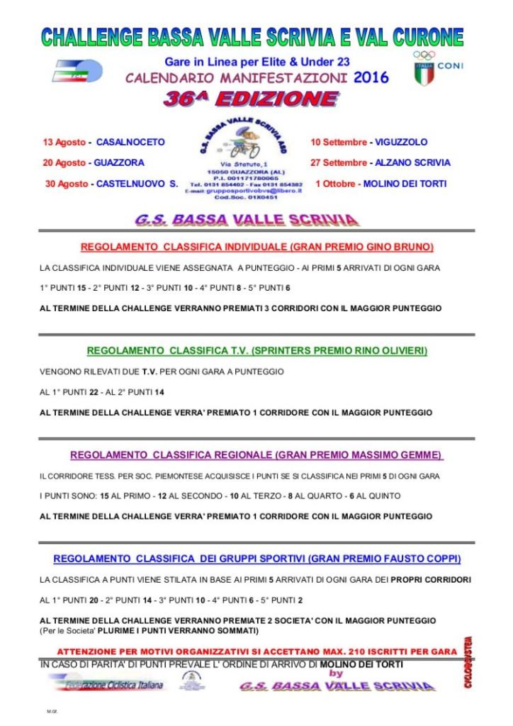 CALENDARIO E REGOLAMENTO BVS2016