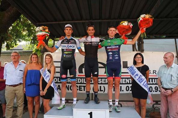 Da sx, Ganna, Cambianica e Vlasov, Podio del 6^ Circuito Viguzzolese (Foto Pisoni)