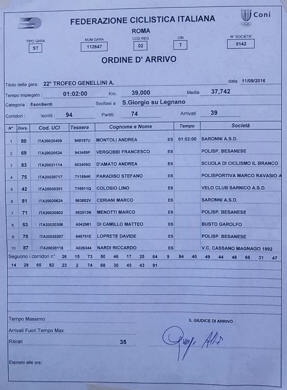 11.09.16 - ORDINE ARRIVO