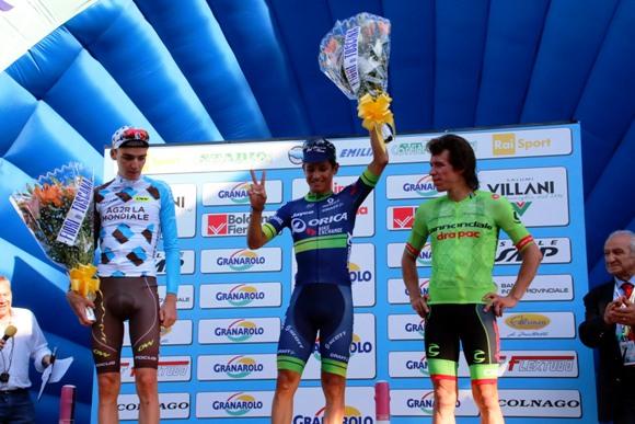 Da sx, Bardet, Chaves e Uran, Podio 99^ Giro dell'Emilia (Photobicicailotto)