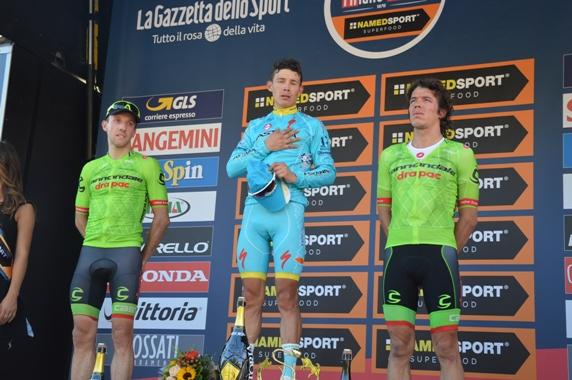 Da sx, Woods, Lopez e Uran, podio della 97° Milano-Torino (Foto di Claudio Mollero)
