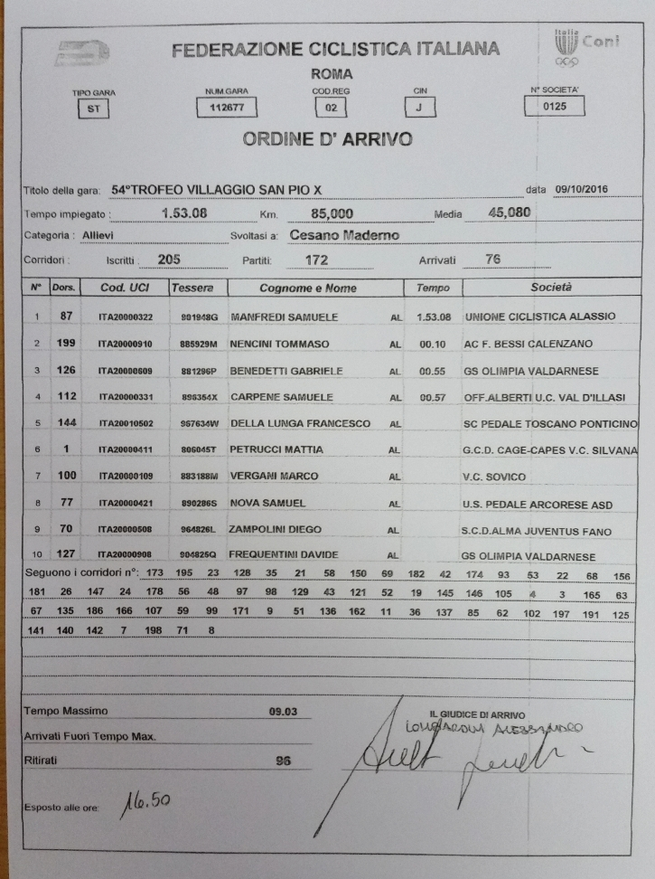 09.10.16 - ORDINE ARRIVO