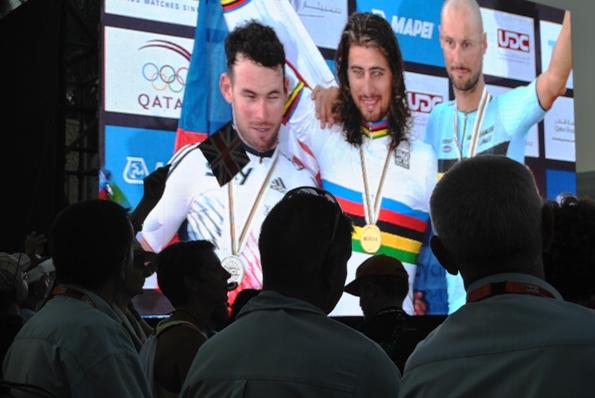Podio con Sagan, Cavendish e Boonen (Foto Roberto Miserocchi)