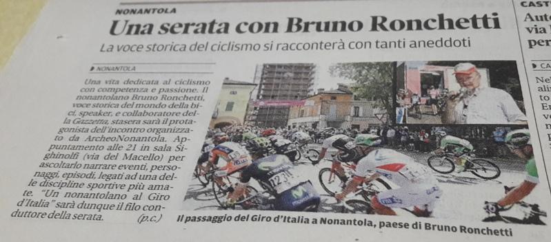 18.10.2016 - Articolo serata Ronchetti a Nonantola