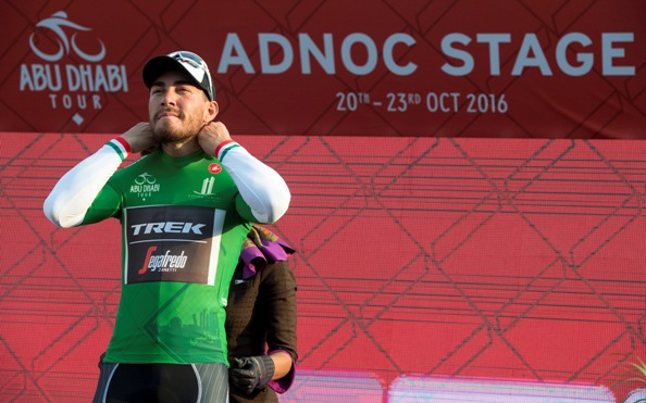 Giacomo Nizzolo of Trek Segafredo Team on the podium of the first stage of Abu Dhabi cycling race from Madinat Zayed to Madinat Zayed, UAE, 20 October 2016. ANSA/CLAUDIO PERI