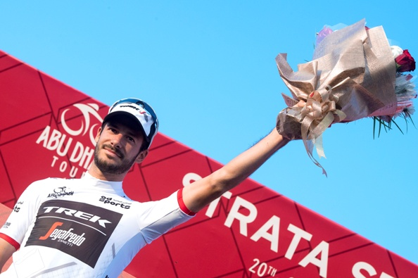 "Julien Bernard of Trek Segafredo Team wearing White Jersey on the podium of the 150 km ""Strata"" Third stage of Abu Dhabi cycling race from AlAlain to Jebel Hafeet, UAE, 22 October 2016. ANSA/CLAUDIO PERI"