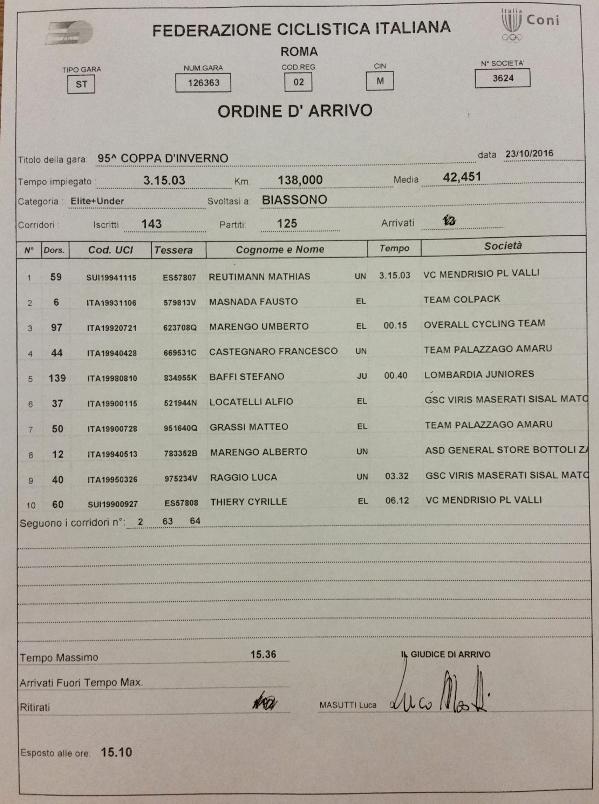 23.10.16 - ORDINE ARRIVO BIASSONO