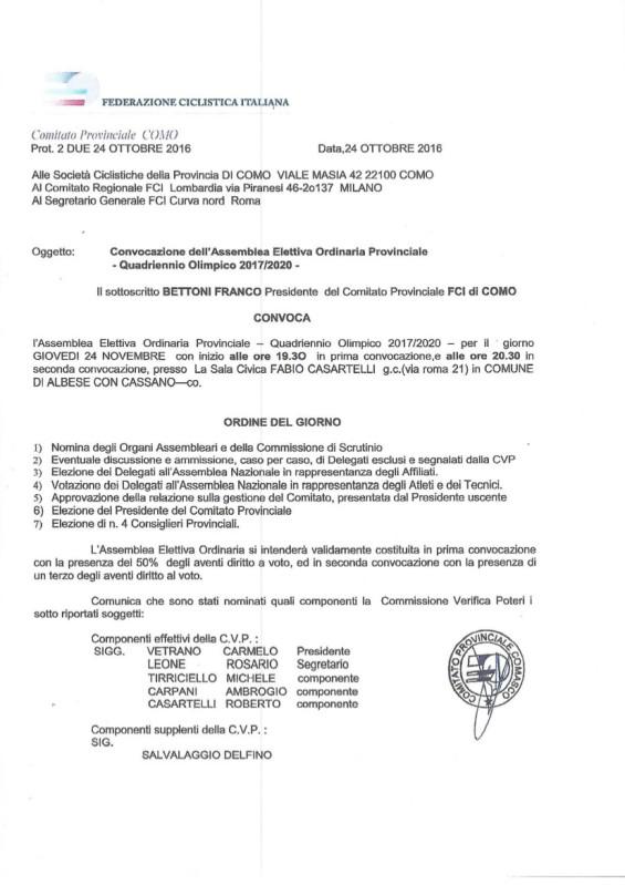 17.11.16 - 1 - CONVOCAZIONE ASSEMBLEA ELETTIVA NR. 1