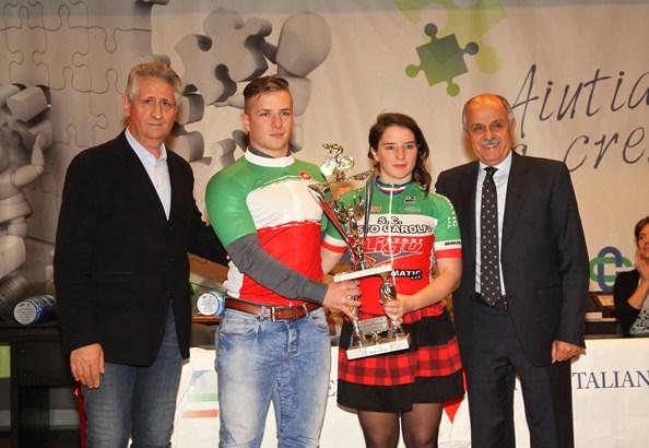 I fratelli Mattia, U23 e Giada Geroli, Donne Esordienti entrambi Tricolori della Pista (Foto Berry)