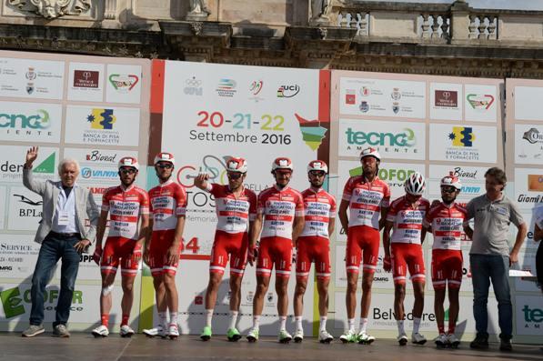 21-09-2016 Giro Della Toscana; Tappa 02 Montecatini Terme - Pontedera; 2016, Androni Giocattoli - Sidermec; Savio, Gianni; Ellena, Giovanni; Montecatini Terme;