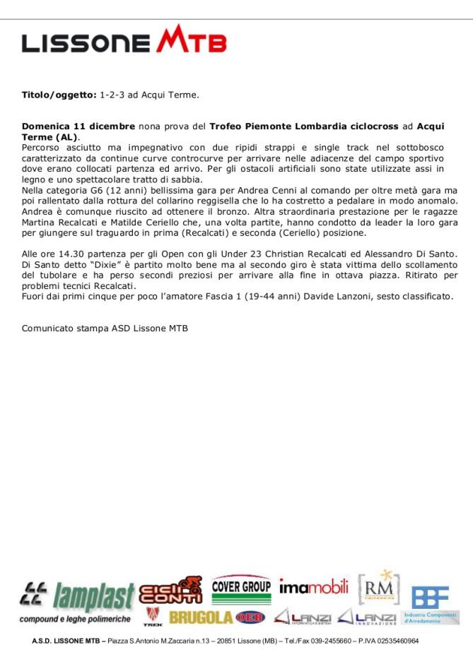 11.12.2016 - Acqui Terme - Lissone Mtb Comunicato stampa
