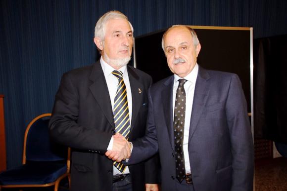 Michieletto riceve le congratulazioni del Presidente Nazionale Renato Di Rocco (Photobicicailotto)