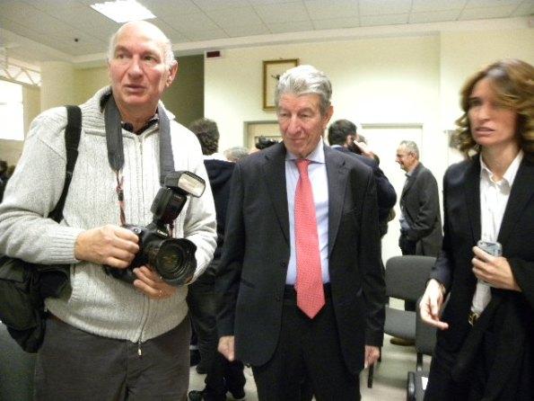 Felice Gimondi qui col fotoreporter Bettini e sua figlia Norma Gimondi (Foto Nastasi)