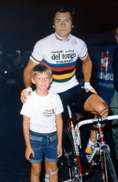 Christian Pisoni col suo idolo Beppe Saronni (Foto archivio di Antonio Pisoni)