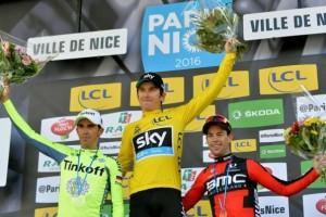 da sx, Alberto Contador, Gerraint  TYhomas e Richie Porte (Foto A.S.O.-Demouveaux)