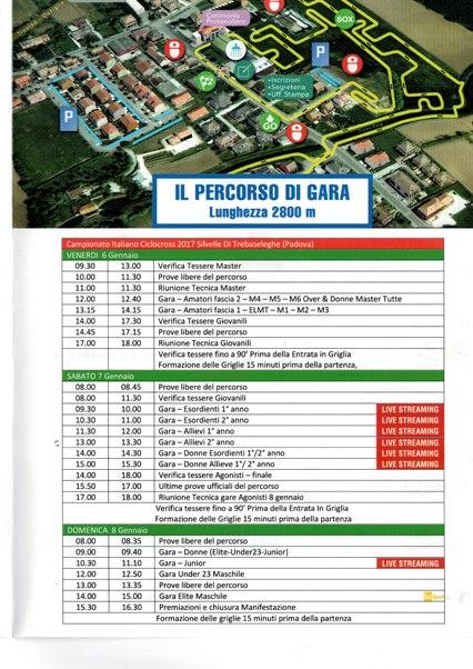 06.01.2017 - PROGRAMMA GARE CAMPIONATO ITALIANO CICLOCROSS
