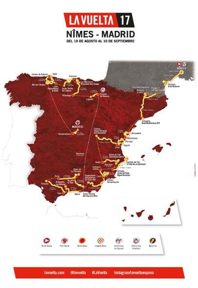 Planimetria Generale Vuelta Espana 2017 da Nimes (Francia) a Madrid (Spagna)