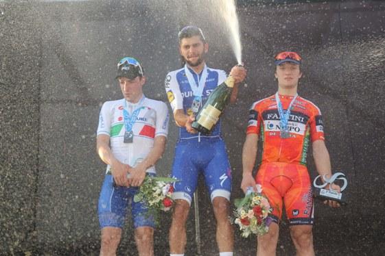 Da sx Viviani, Gaviria e Marini, Podio 1^ tappa Vuelta San Juan (Foto Biondi-Bettini)