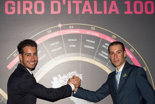 25.10.2016 Foto di ANSA/CLAUDIO PERI Bellissimo siparietto di Aru con Nibali alla presentazione del Giro100